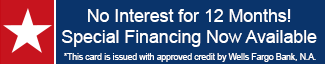 Red and Blue Banner that reads Special Financing Now Available