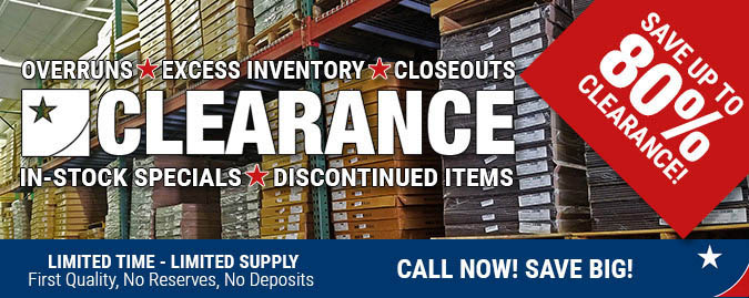 overruns, excess, inventory, close-outs, clearance items, in-stock specials, discontinued items, limited time, limited supply, flooring sale