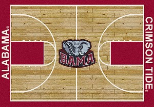 Alabama Crimson Tide Home Court Rug Alabama (Lane Color: Red)