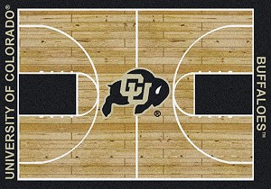 Colorado Buffaloes Home Court Rug Colorado Buffaloes (Lane Color: Black)