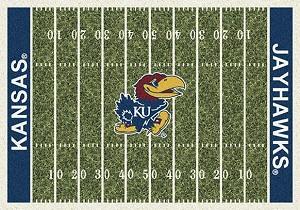 Kansas Jayhawks Home Field Rug Kansas Jayhawks (End Zone Color: Blue)