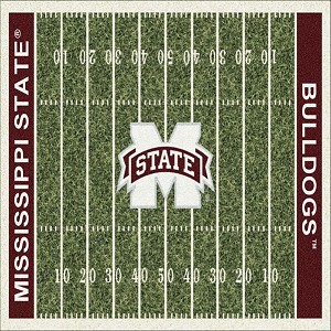MS State Bulldogs Home Field Rug Mississippi State Bulldogs (End Zone Color: Red)