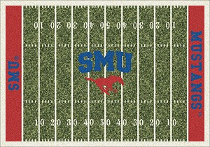 SMU Mustangs Home Field Rug SMU Mustangs (End Zone Color: Red)