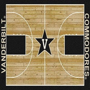 Vanderbilt Commodores Home Court Rug Vanderbilt Commodores (Lane Color: Black)