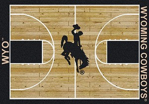 Wyoming Cowboys Home Court Rug Wyoming Cowboys (Lane Color: Black)