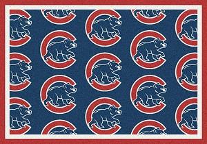 Chicago Cubs Logo Repeat Rug Major League Baseball Team