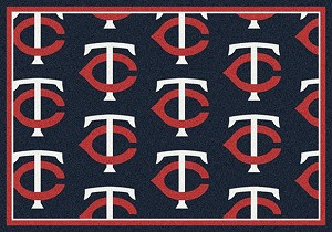 Minnesota Twins Logo Repeat Rug Major League Baseball