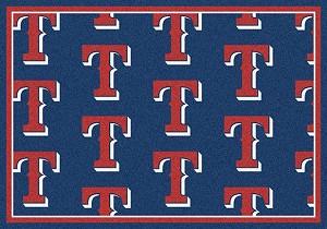 Texas Rangers Logo Repeat Rug Major League Baseball Team