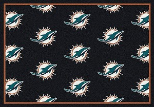 Miami Dolphins Logo Repeat Rug Nfl Team Rugs Milliken